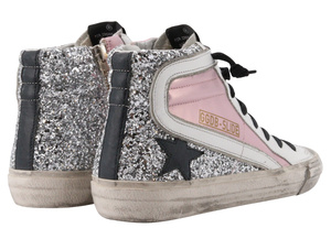 Golden Goose Slide Laminated And Glitter Upper Leather Star And Wave