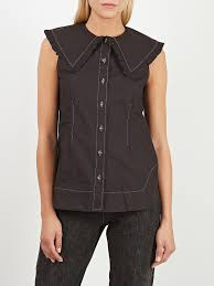 Ganni Cottin Poplin Sleeveless Shirt
