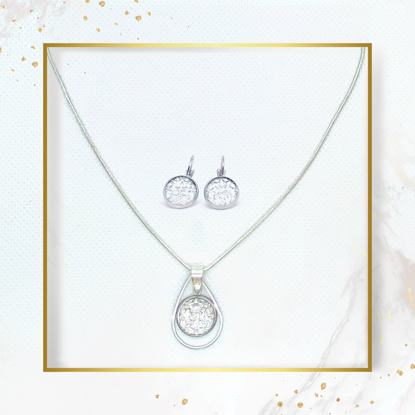 SET earrings & necklace SILVER