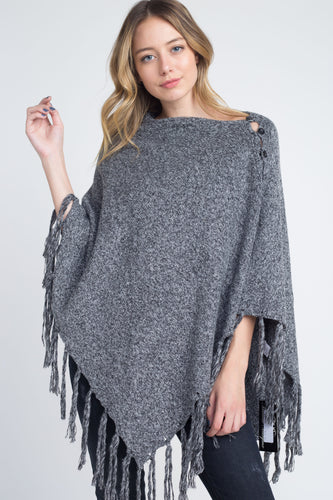 Women's V-Shaped Fringe Poncho with Buttons(hand wash)
