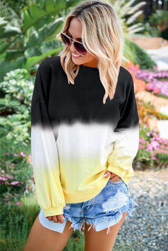 Black Color Block Tie Dye Pullover Sweatshirt