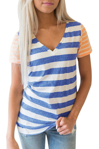 Blue Orange Striped Short Sleeve