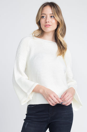 Women's Solid Knit Bell Sleeve Sweater (hand wash)