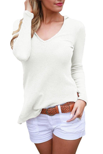 White VNeck Long Sleeve Hooded Knit Top(hand wash)