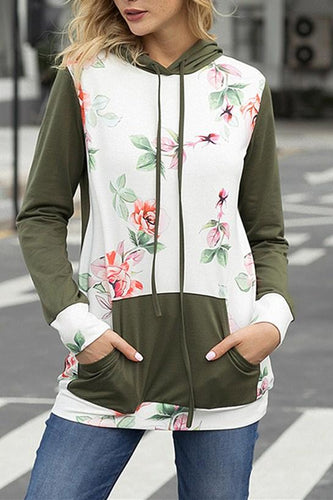 Womens Army Green Kangroo Pocket Floral Hoodie