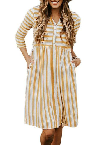 Yellow Striped Casual Midi Shirt Dress
