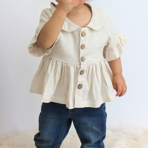 Boho Linen Top - Ivory and Black