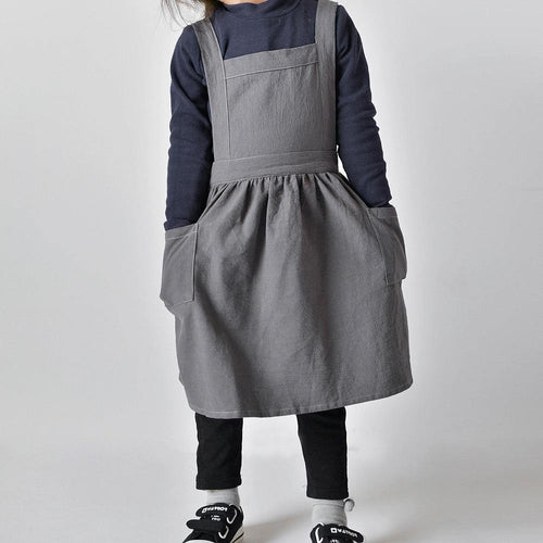 Adjustable Soft Cotton Linen Pinafore Apron for