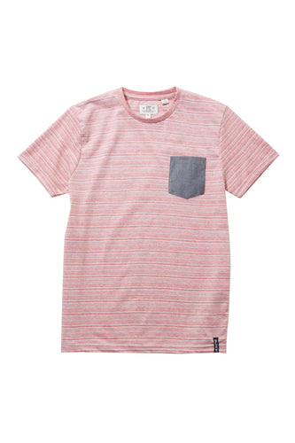 Micro Stripe Tee with Chambray Pocket
