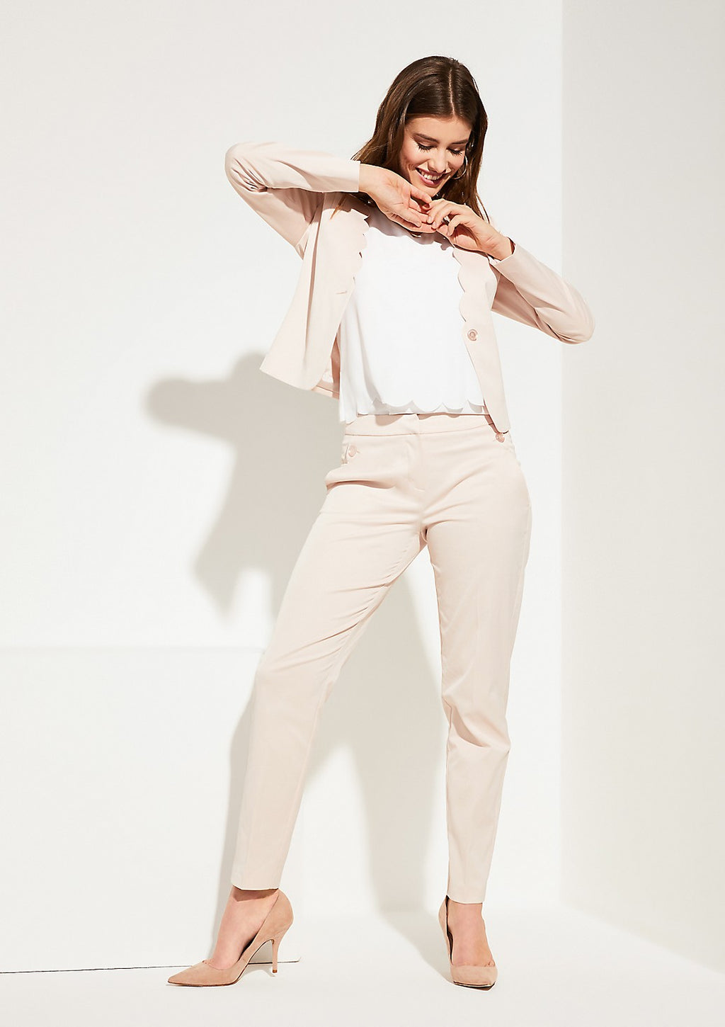 Cropped Blazer W/Scalloped Edge - Sonia's Runway