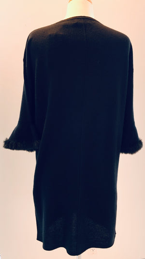Black Dress W/Fur Sleeve