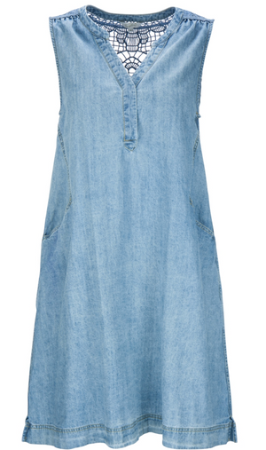 Denim Dress w/Crochet detail - Sonia's Runway