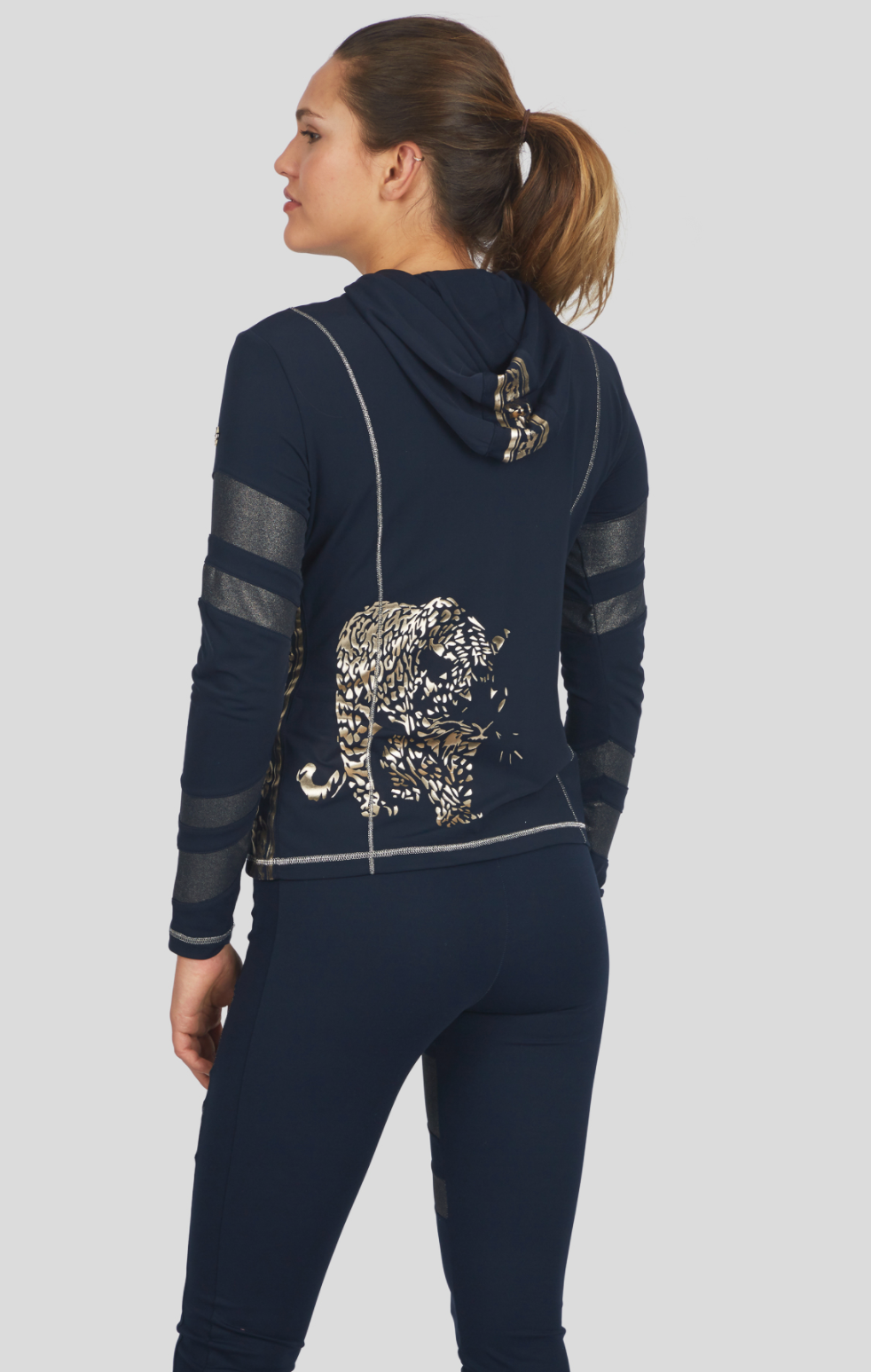 Navy Hoodie W/Gold Tiger