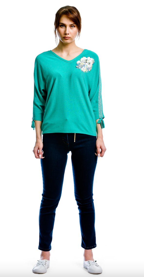 Vee Neck L/S W/Sequined Flower, Lurex Taping