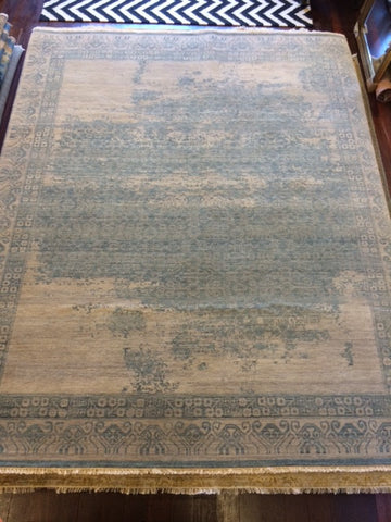 Distressed Vintage Beige/Grey/Blue Wool Rug