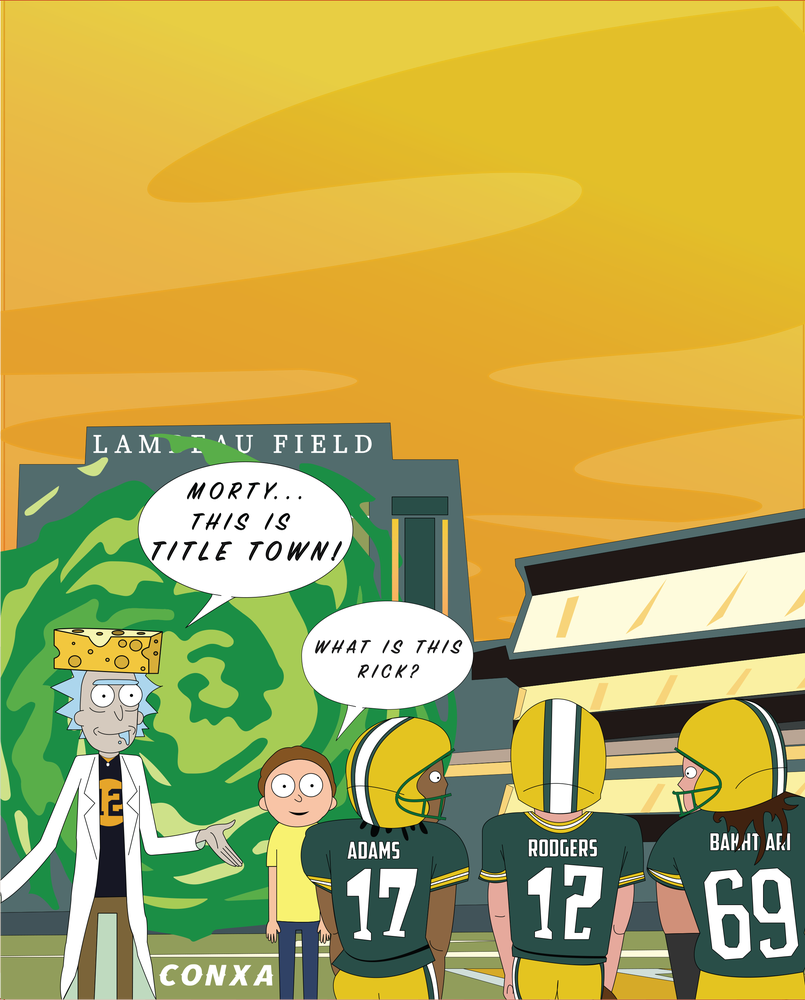 8x10 Rick and Morty X Green Bay Packers Prints