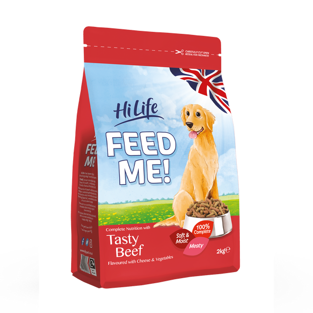 Angled Picture of Bag of HiLife Feed Me Dry Dog Food with Beef 2kg