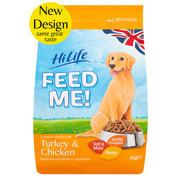 Picture of Front facing Bag of HiLife Feed Me Dry Dog Food with Turkey and Chicken 2kg