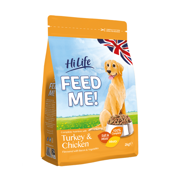 Angled Picture of Bag of HiLife Feed Me Dry Dog Food with Turkey and Chicken 2kg