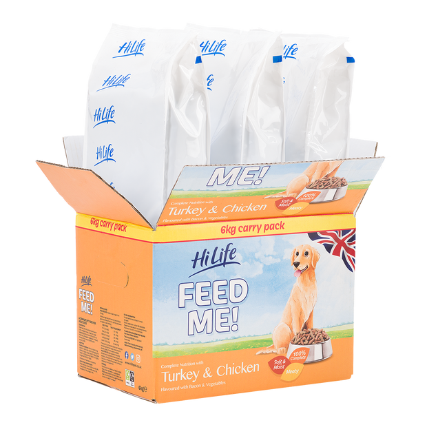 Angled picture of Bulk Box of 6kg HiLife Feed Me Dry Dog Food with Turkey and Chicken containing 3 x 2kg bags