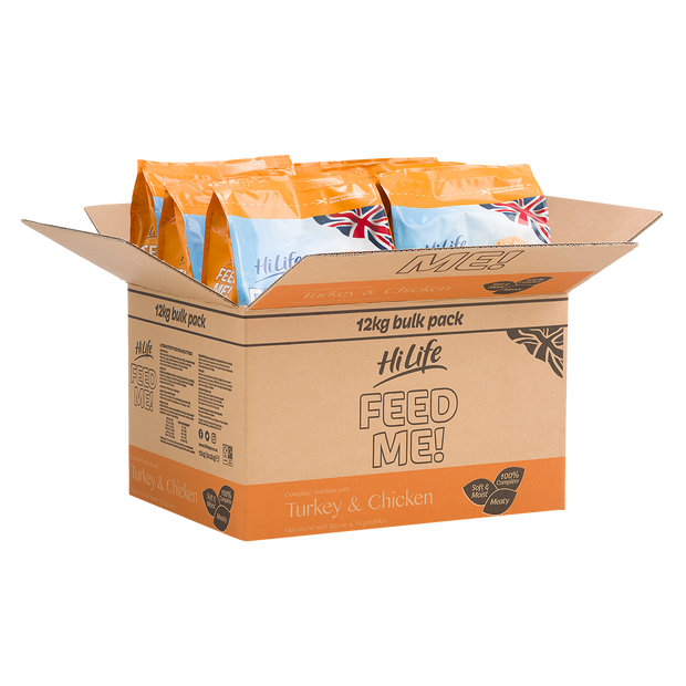 Angled picture of 12kg of HiLife Feed Me Dry Dog Food with Turkey and Chicken containing 6 x 2kg bags