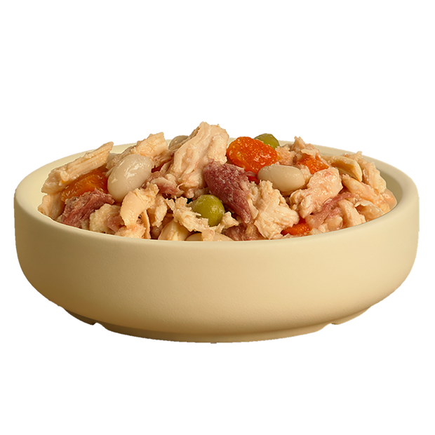 Bowl of delicious HiLife its only natural Luxury Chicken Breast with beef, beans and veg pouch dog food showing high quality chicken breast, beef, beans, and veg