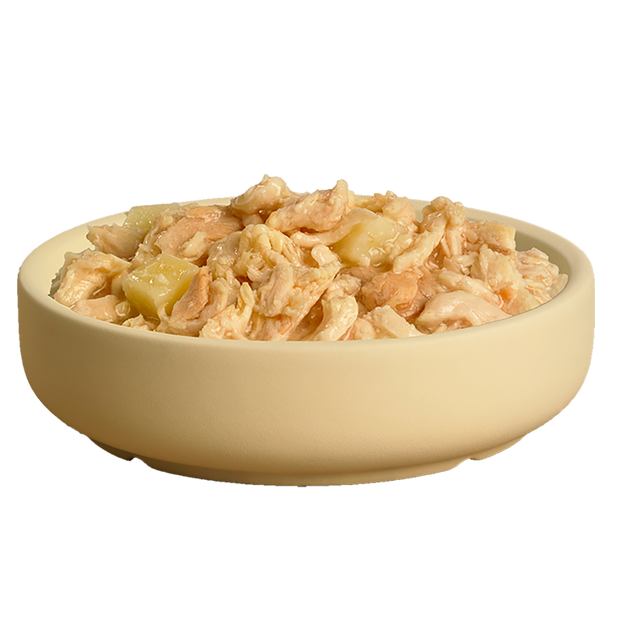 Bowl showing delicious HiLife its only natural Luxury Chicken Breast with Salmon and Potato pouch dog food showing high quality chicken, salmon and potato
