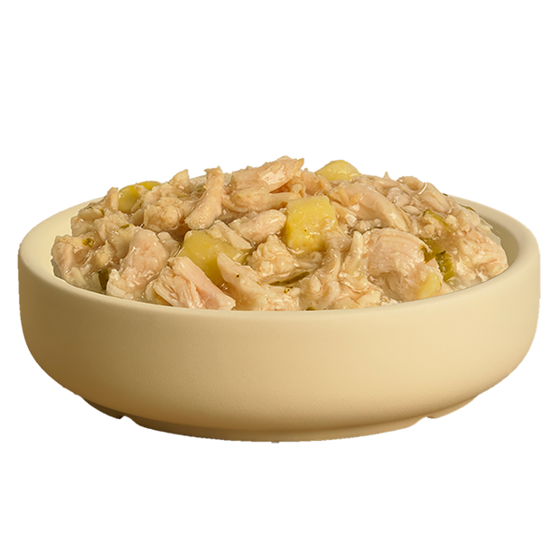 Bowl showing delicious HiLife its only natural Luxury Chicken Breast with Sweet Potato and Kale pouch dog food showing high quality chicken breast, sweet potato and kale in sauce