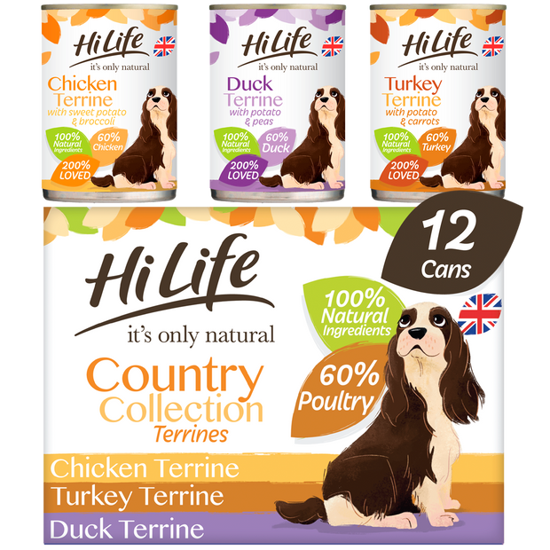Picture of a box containing 12 cans of HiLife its only natural Country Collection Terrines featuring Chicken, Turkey and Duck Super Premium Canned Dog Food, made with natural ingredients and 60 percent poultry