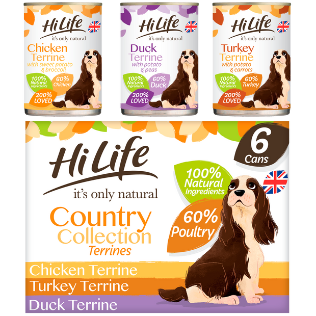 Picture of a box of HiLife its only natural Country Collection Terrines featuring Chicken, Turkey and Duck Super Premium Canned Dog Food, made with natural ingredients and 60 percent poultry