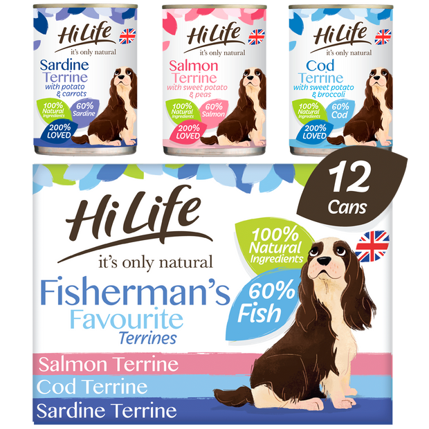 Box of 12 cans of 100% natural and grain free canned dog food from HiLife its only natural in Salmon, Cod and Sardine recipes.