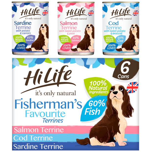 Picture of a box containing 12 cans of HiLife its only natural  Fishermans Favourite Terrines featuring Salmon, Cod and Sardine Super Premium Canned Dog Food, made with natural ingredients and 60 percent fish
