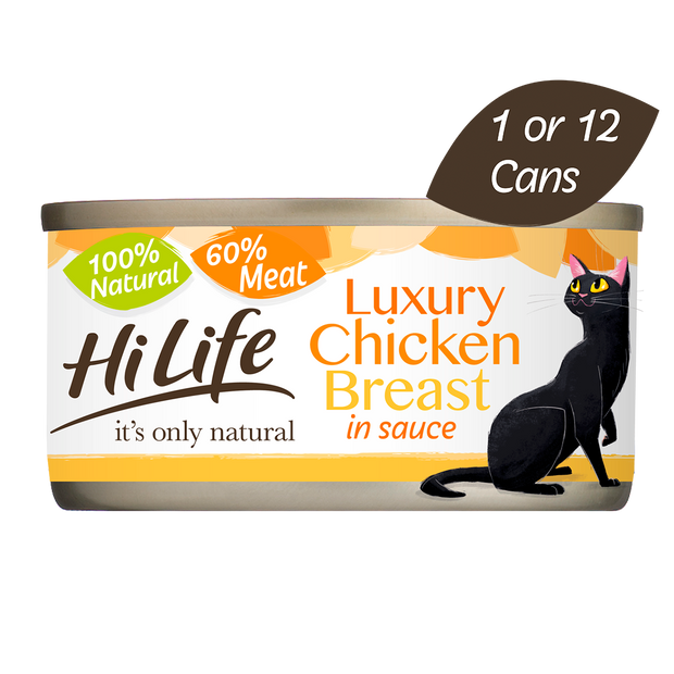 Picture of HILife its only natural Luxury Chicken Breast in sauce cat food with 100 percent natural ingredients and 60 percent meat.