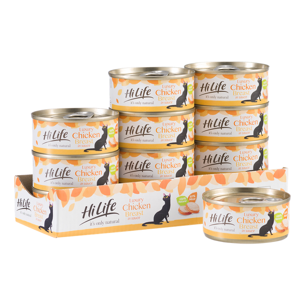 Picture of 12 individual can of HiLife its only natural Luxury canned range for cats.