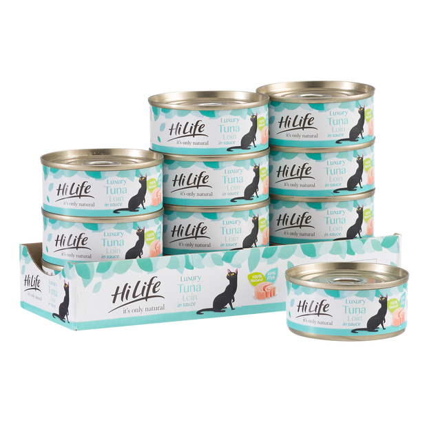 HiLife its only natural canned cat food Luxury Tuna Loin in Sauce case of 12 cans