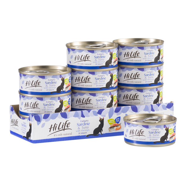 Picture of 12 can case of HiLife its only natural Luxury Sardine and Tuna with Shrimps in sauce  - made with high quality 100 percent natural ingredients