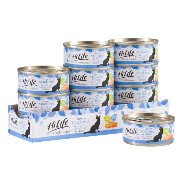 Picture of 12 can case of HiLife its only natural Luxury Mackerel and Tuna with Salmon in sauce made with - made with high quality 100 percent natural ingredients