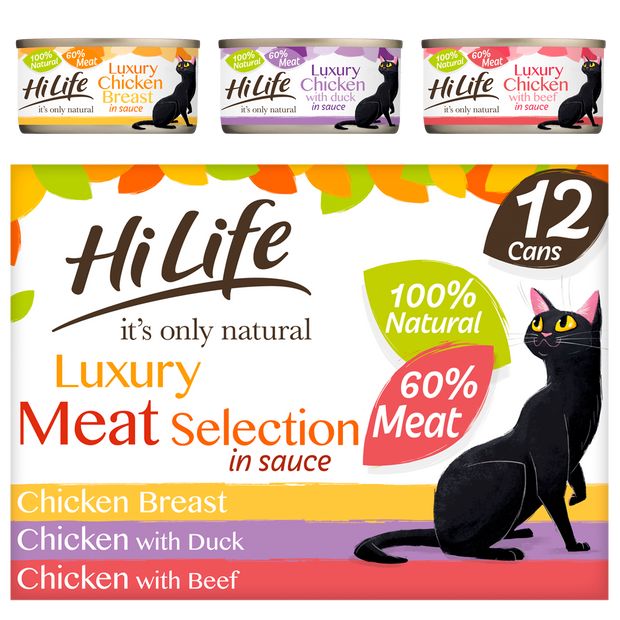 Front facing picture of a HiLife its only natural Luxury Meat Selection multipack in sauce with 100 percent natural ingredients and 60 percent meat.