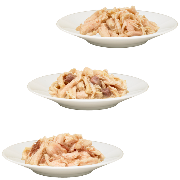 3 bowls of HiLife its only natural Luxury Chicken Breast, Chicken with Duck and Chicken with Beef cat food in Sauce with real flakes of chicken and pieces of 100% natural beef and duck in sauce.  Grain Free and contains no artificial colours, flavours or preservatives