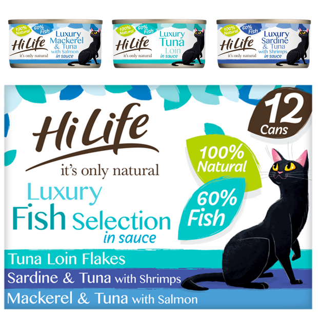Picture of 12 can case of HiLife its only natural Luxury Fish Selection in sauce containing Tuna Loin Flakes, Sardine and Tuna with Shrimps and Mackerel and Tuna with Salmon recipes - made with high quality 100 percent natural ingredients