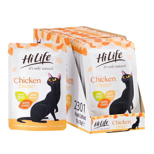 Picture of 18 pouch pack of  HiLife its only natural Chicken Dinner pouch cat food with 100% natural ingredients