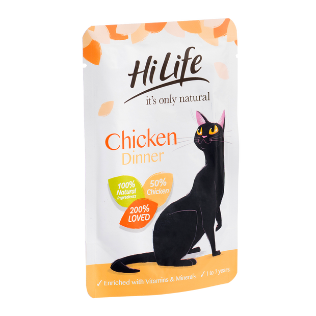 Angled Picture of HiLife its only natural Chicken Dinner pouch cat food with 100% natural ingredients