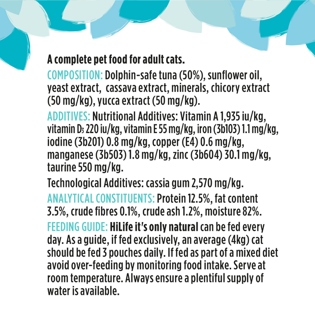 HiLife its only natural tuna flakes cat food pouch with 50% tuna ingredients lists