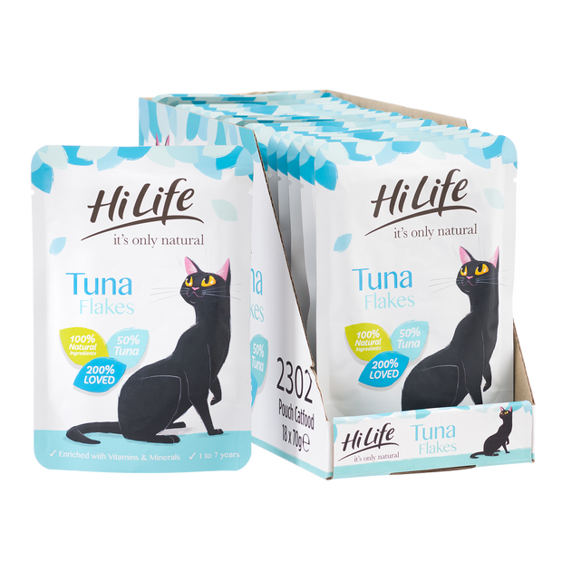 Picture of 18 pouches of HiLife its only natural Tuna Flakes Cat Food with 100% natural ingredients