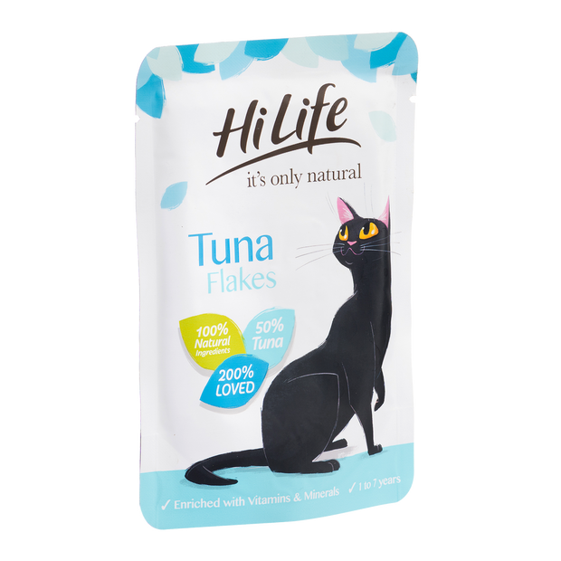 Angled Picture of HiLife its only natural Tuna Flakes Cat Food with 100% natural ingredients