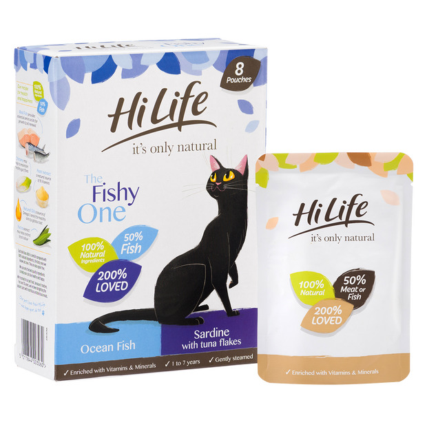 Angled Picture of HiLife its only natural The Fishy One Cat Food with 100% natural ingredients