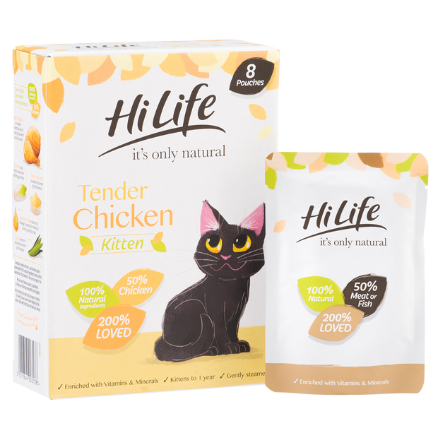 Picture of angled pack of HiLife its only natural Kitten Chicken Cat Food with 100% natural ingredients