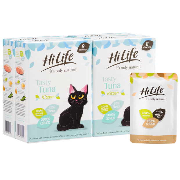 Picture of 32 Pouch Pack of HiLife its only natural Tuna Kitten Cat Food with 100% natural ingredients