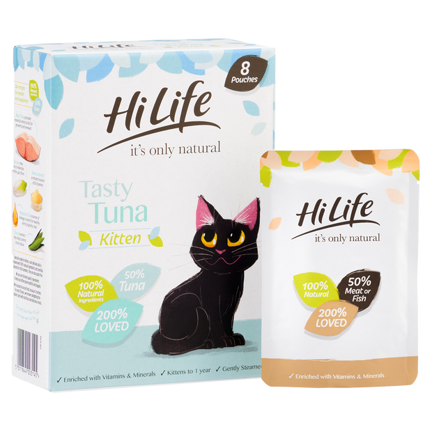 Picture of angled pack of HiLife its only natural Tuna Kitten Cat Food with 100% natural ingredients