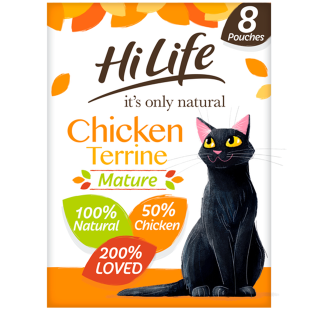 Picture of  100% natural HiLife its only natural Senior Cat Food, made with 50% chicken